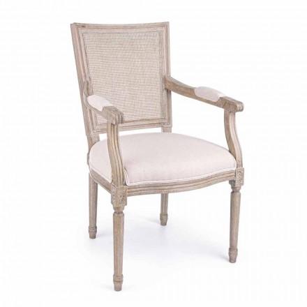 Karrige klasike me armrests në dru hiri dhe pëlhurë lëvizjeje - Meringue