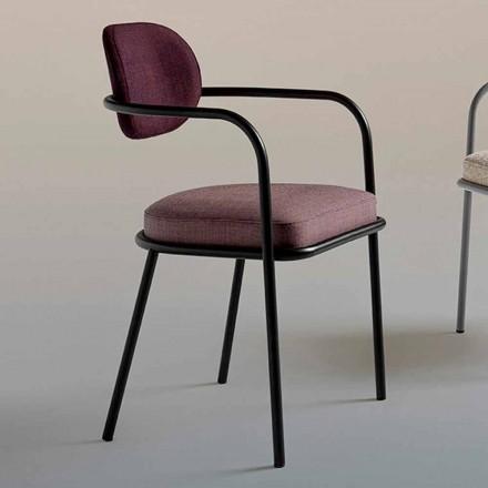 Karrige Vintage Design me Armrests in Steel dhe pëlhurë me ngjyra - Ula