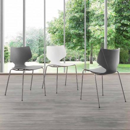 Karrige kromi me dizajn modern me bazën Messina