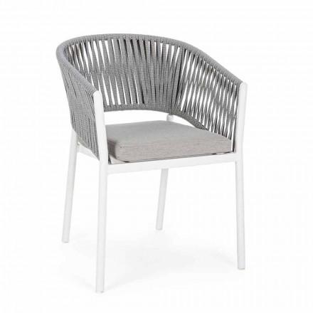 Karrige në natyrë me armrests në alumini të bardhë dhe gri Homemotion - Rubio