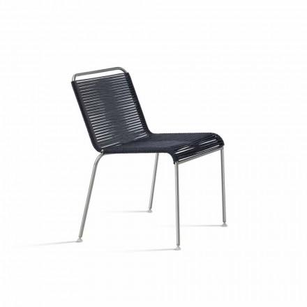 Karrige për Dizajn të Hapur në çelik dhe kordonin e zi të bërë në Itali - Madagascar1