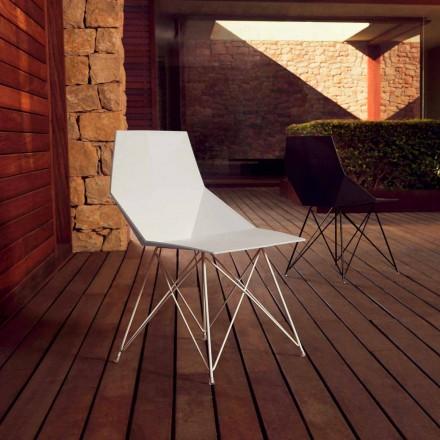 Karrige kopshtesh për dizajn Vondom Faz në polipropileni dhe çelik inox 4 copë