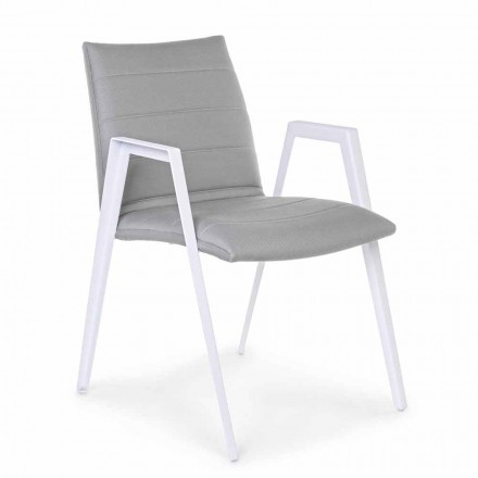 Karrige Moderne e Kopshtit me Armrests në Homemotion të Aluminit të Bardhë - Liliana