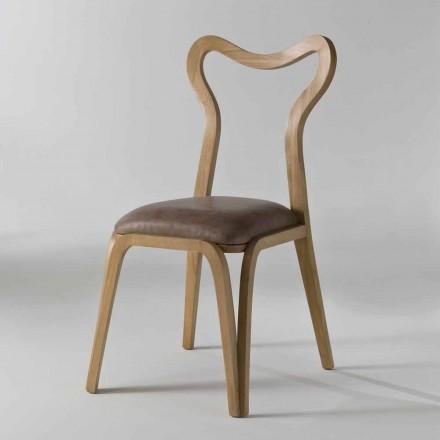 Karrige ngrënieje me stil modern, Carol në lëkurë dhe dru, 41x46 cm