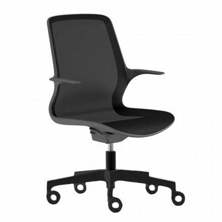 Karrige zyre me rrota të kthyeshme në rrjetë të zezë dhe najloni të zezë - Ayumu