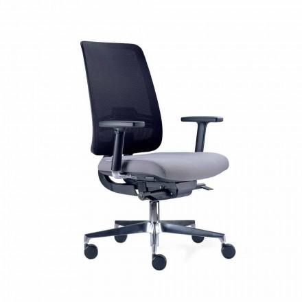 Karrige zyre me rrota të kthyeshëm në të zezë dhe pëlhura Tecnorete - Menaleo