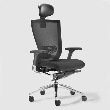 Karrige zyre ergonomike me pëlhura dhe rrota lëkure Faux - Takeshi