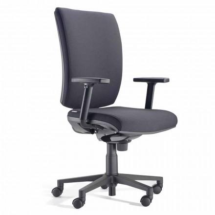 Karrige zyre e kthyeshme ergonomike me krahë në pëlhurë të zezë - Macrino