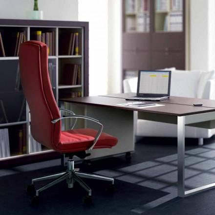 Karrige e plotë e zyrës së lëkurës me kokërr ekzekutive Debora, dizajn modern