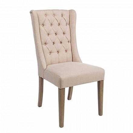 Karrige me dizajn klasik në pëlhurë dhe dru lisi 2 copë Homemotion - Forla
