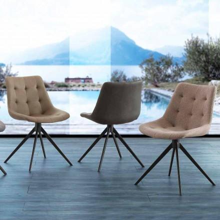 Sedia di design imbottita trapuntata in tessuto o eco nabuk Venezia