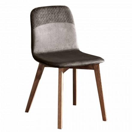 Karrige elegante e dizajnit modern në kadife dhe dru me ngjyra 4 copë - Bizet