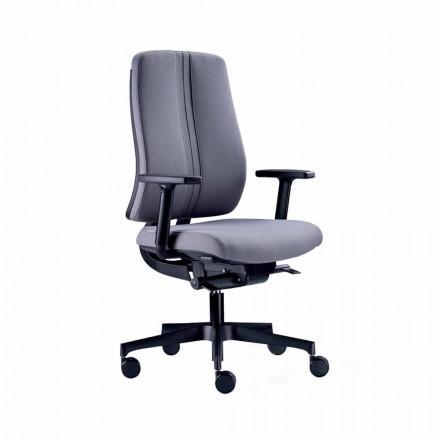 Karrige zyre moderne e kthyeshme ergonomike në pëlhurë të zezë të papërshkueshme nga zjarri - Menaleo