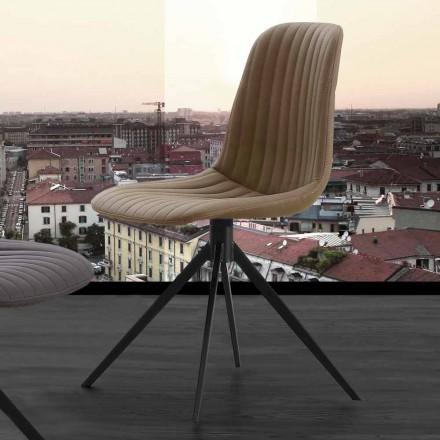 Sedia imbottita in eco nabuk e metallo, design moderno, Taranto