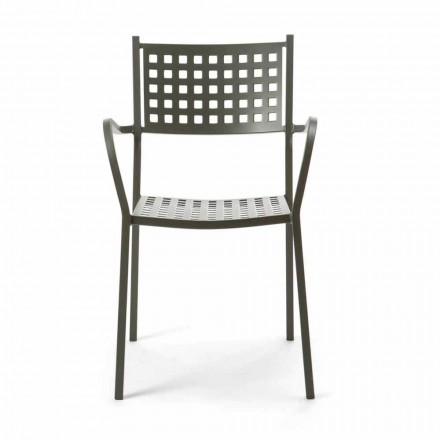 Karrige në natyrë stabile në Metal pikturuar Made in Italy, 8 copë - Lina