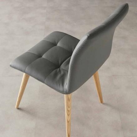 Karrige moderne për dizajn Viola, tapiceri eko-lëkure dhe këmbët prej druri