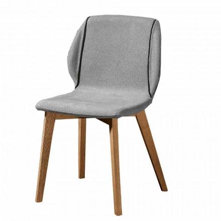Karrige elegante e dizajnit elegant në pëlhurë me bordurë dhe dru 4 copë - Scarat