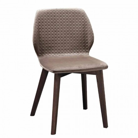 Karrige elegante e dizajnit elegant në kadife dhe druri të mbushur me tegela 4 copë - Scarat