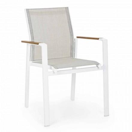 Karrige në natyrë stackable me armrests në alumini Homemotion - Sciullo