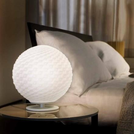 Selene Domino llambë moderne e tavolinës së bardhë moderne H 27 H30cm, e bërë nga qelqi i çelur