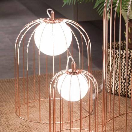 Llambë tavoline kafaze Selene Kluvì e bërë nga qelqi i çelur, dizajn modern