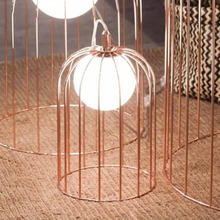 Selene Kluvì llambë moderne e kafazit, e bërë prej qelqi dhe metali, H 19 H 27 cm