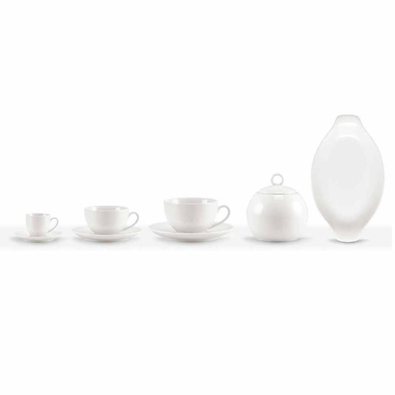 Seti i 18 gotave të kafesë dhe çajit me tasin e sheqerit dhe tabaka prej porcelani - Lucerne