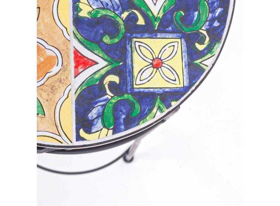 Shërbimi 3 Tabelat e rrumbullakëta të kopshtit në çelik dhe dekore - magjepsëse