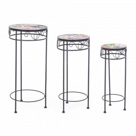 3 tabela të rrumbullakëta në natyrë prej çeliku me dekora të projektimit - magjepsëse