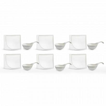 Shërbimi Aperitif 12 copë Pllaka Moderne prej Porcelani të Bardhë - Nalah