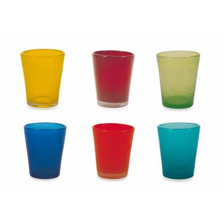 Shërbimi i qelqit të ujit 12 copë qelqi të çelur dhe me ngjyra - Folk Folklorik