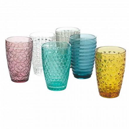 Set moderne pijesh alkoolike në gotë me ngjyra të dekoruara 12 copë - Përzierje