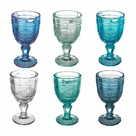 Set me gotë vere me ngjyra në gotë dhe stil dekor dekor 12 copë - vidë