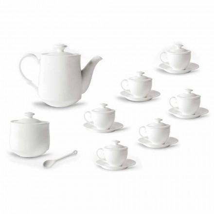 Shërbimi i plotë i Kupave të Kafe 21 copë në Porcelan të Bardhë - Samantha