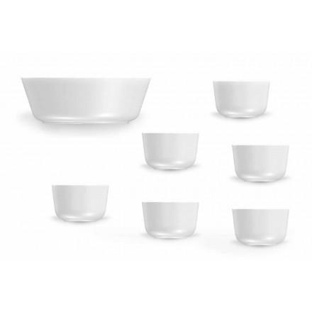 Dizajn Modern Kupat e Porcelanit të Bardhë dhe Seti i Pjatave 7 Copë - Arktik