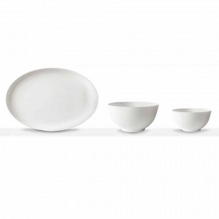 Set për servirje porcelani të Bardhë Pllaka ovale dhe tas 10 copë - Romilda