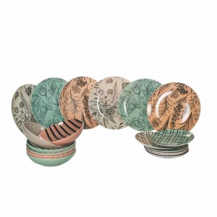 Enët e plota të shërbimit të tryezës në Porcelani me ngjyra 18 Copë - Balet