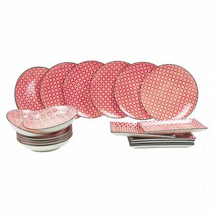 Pllaka të kuqe të plota të shërbimit të tabelës në gurë moderne 18 copë - cochineal