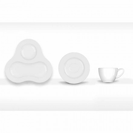 Komplet i Çajit Dizajn Modern në Porcelan të Bardhë 14 Copë - Teleskop
