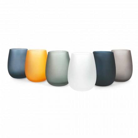 Seti i gotave me ujë qelqi me ngjyra moderne, 12 copë - Rim