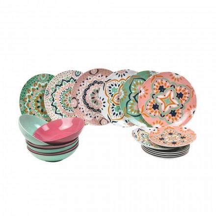 Seti i enëve me ngjyra në Porcelan 18 copë - Playasol