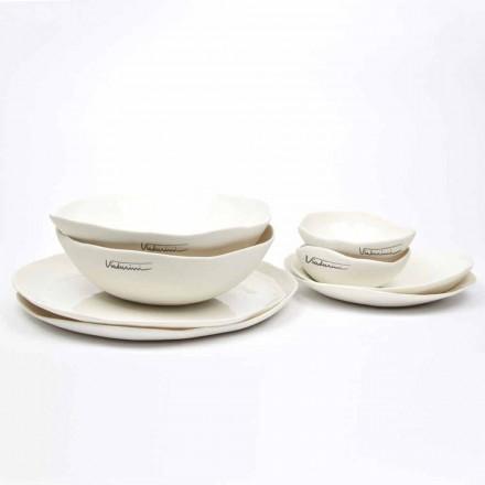 Shërbim pjatash prej porcelani të bardhë me 24 pjesë të dizajnit luksoz - Arciregale