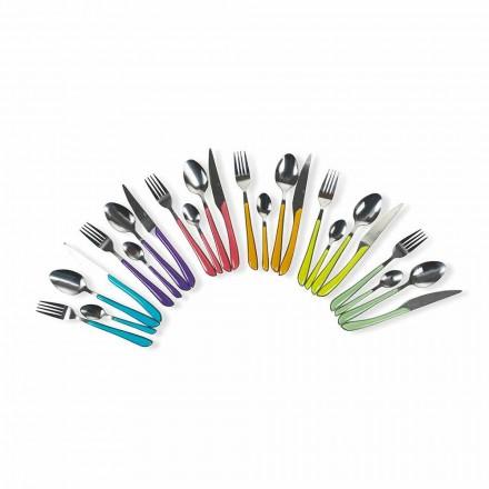 Shërbimi i takëmeve me ngjyra 24 copë në çelik dhe model plastik - Algjeri