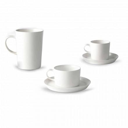 Shërbimi i Kupës së Kafe, aaj dhe Mëngjesi 30 copë në Porcelan të Bardhë - Egle
