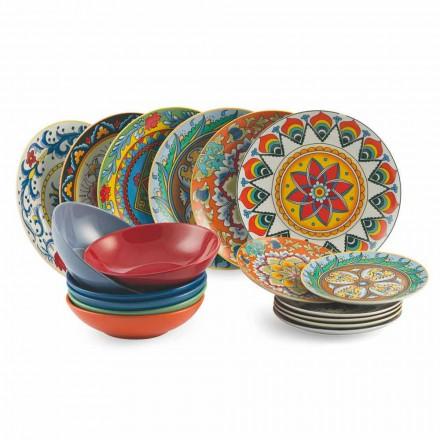 Pllaka për darkë me ngjyra Vendosin 18 copë porcelani dhe gurë - Rilindje