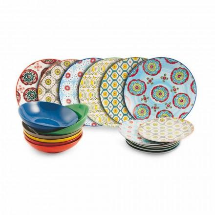 Komplet i Pllakave me Ngjyra Etnike Moderne në Porcelan dhe Guri 18 copë - Stamboll