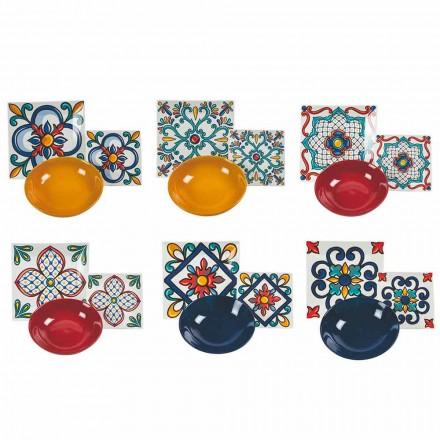 Shërbimi 18 Pije Moderne Gres dhe Pllaka me Ngjyra Porcelani - Iglesias