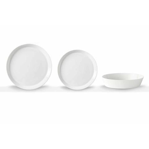 Komplet Pjatash darke 18-copë Porcelani i Bardhë me Dizajn elegant - Egle