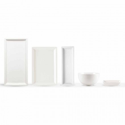 Pllaka për darkë moderne prej porcelani të bardhë vendos 25 copa - bazale