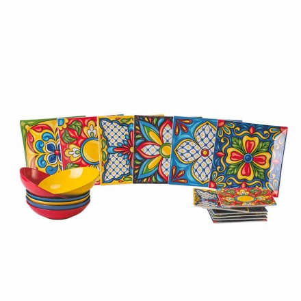Shërbim Pjate darke me ngjyra Porcelani dhe Gresi 18 copë - Aztecas